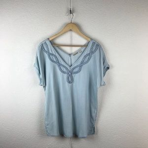 Anthro l Holding Horses Denim Chambray Braided Top